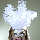 White Masquerade Feather Mask