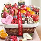 Happy Valentine's Day Deluxe Fruit and Sweets Basket