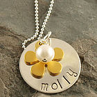 Golden Flower Girl Hand Stamped Necklace
