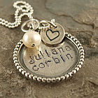 Beaded Edge Mother's Hand Stamped Necklace