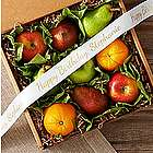 Organic Fruit Box with Personalized Ribbon
