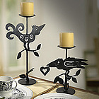 Curly Bird and Crow Metal Candleholder Set