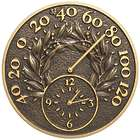 """14"""" Bay Leaf Indoor/Outdoor Thermometer Wall Clock"""