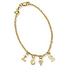 Childrens Love Charm Bracelet in 14k Gold with a Puffy Heart