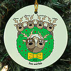 Holiday Reindeer Personalized Family Ceramic Ornament