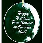 Engraved Beveled Glass Round Ornament