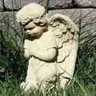 Vintage Praying Angel Cast Stone Statue