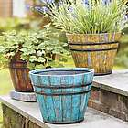 Faux Wooden Bucket Planter