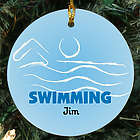 Swimming Personalized Ceramic Ornament