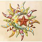 Talavera Painted Metal Sun and Moon Wall Art