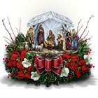 Thomas Kinkade Crystal Nativity Floral Centerpiece