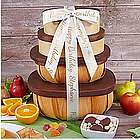 Organic Fruit and Snack Gift Tower with Personalized Ribbon