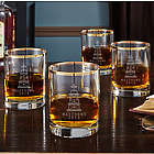 4 Oil Strike Gold Rim Personalized Whiskey Glasses