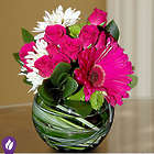 Hot Pink Blooms in a Bubble Bowl Bouquet