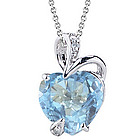 Sky Blue Topaz Pendant in 14K White Gold