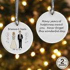 Personalized Bride and Groom Characters Christmas Ornament