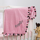Pink Velour Personalized Baby Blanket