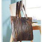 Antiqued Pleated Leather Handbag