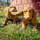 Two Playful Hounds Garden Statue
