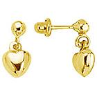 Gold Princess Children's Heart Earrings in 14K Yellow Gold