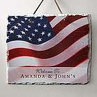 Personalized American Flag Stars and Stripes Slate Wall Plaque
