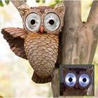 Glowing Owl Eyes Garden Sculpture