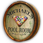 Personalized Pool Room Quarter Barrel Sign