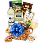 Classic White Wine and Snacks Gift Basket