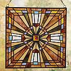 Stained Glass Cross Mission Style Square Suncatcher