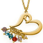 Gold-Plated Heart Necklace with Birthstones