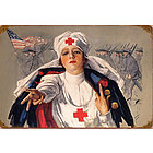 Red Cross Nurse Metal Sign