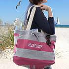 Pink and Grey Stripes Personalized Beachcomber Bag