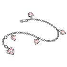 Diamond Resin Heart Charm Silver Children's Bracelet