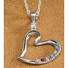 Personalized Mother's Heart Birthstone Pendant