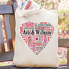 Personalized Couples Love Word Art Tote Bag