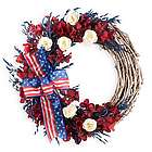 Americana Wreath with Ribbon