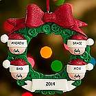 Personalized Holiday Wreath Family Ornament