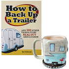 How To Back Up A Trailer Book with Blue Happy Camper Mug