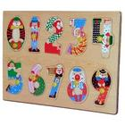 Artistic Clown Numbers Peg Wooden Puzzle