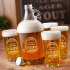 Personalized Gold Design Brewery Growler Set