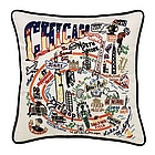 Hand Embroidered Chicago Accent Pillow