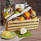 Organic Indulgence Snacks Gift Basket with Personalized Ribbon