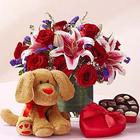 Everlasting Love Flowers, Chocolates and Plush Puppy