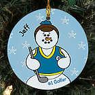 Personalized Ceramic Golfer Snowman Ornament