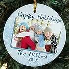 Personalized Photo Happy Holidays Ceramic Ornament