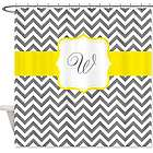 Personalized Gray Yellow Chevron Shower Curtain