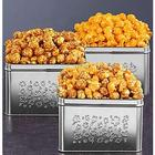 Cheddar Toffee Caramel Crunch Embossed Silver Square Popcorn Tin