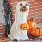 """24"""" Trick-or-Treat Dog In Ghost Costume Statue"""