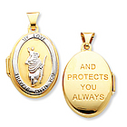 14k Yellow Gold St. Christopher Oval Locket