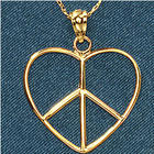 14K Gold Heart and Peace Pendant